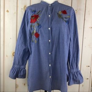 Loft women's embroidery button down shirt (L)